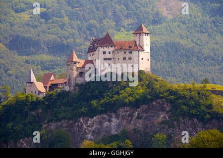 View of Gutenberg castle, Balzers, Alpenrhein, Rhine, Liechtenstein, Europe - Stock Photo