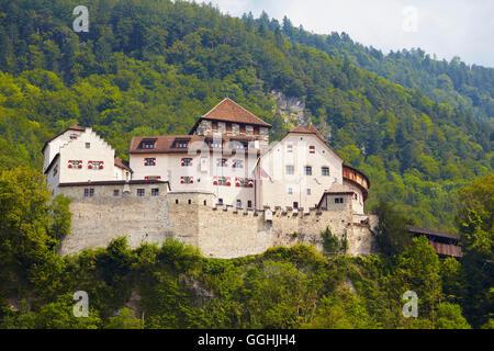 View of Vaduz castle, Alpenrhein, Rhine, Liechtenstein, Europe - Stock Photo