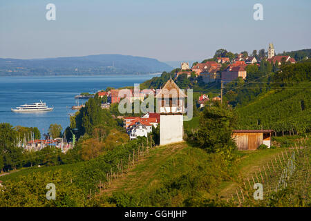 View over Meersburg at Lake Ueberlingen, Bodensee, Baden-Wuerttemberg, Germany, Europe - Stock Photo