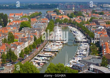 View from the tower of the Grote Kerk at the old city of Dordrecht and the waterway Oude Maas, Province of Southern - Stock Photo