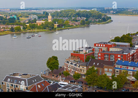 View from the tower of the Grote Kerk to the old city of Dordrecht and the waterway Oude Maas, Province of Southern - Stock Photo