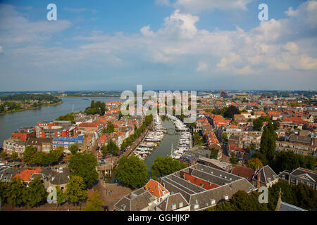 View from the tower of Grote Kerk to the old city of Dordrecht and the waterway Oude Maas, Province of Southern - Stock Photo