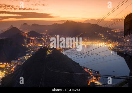 View from Sugarloaf Mountain at sunset, Rio de Janeiro, Brazil, South America - Stock Photo