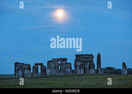 Stonehenge in the moonlight, Amesbury, Wiltshire, England, Great Britain - Stock Photo