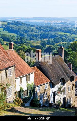 Gold Hill, Shaftesbury, Dorset, England, Great Britain - Stock Photo