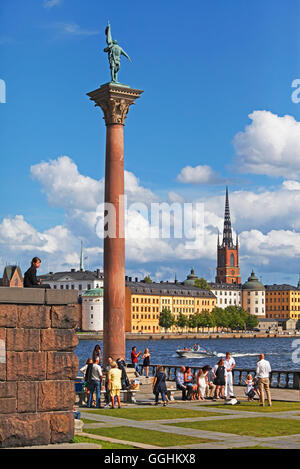 Statue of Engelbrekt Engelbrektsson in the City Hall Garden, Riddarholmen with Riddarholmen church in the background, - Stock Photo
