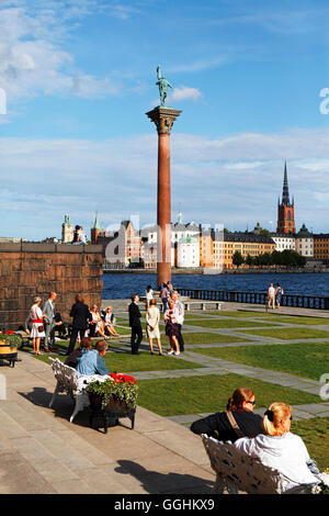Statue of Engelbrekt Engelbrektsson in the City Hall Gardens, Riddarholmen with Riddarholmen church in the background, - Stock Photo