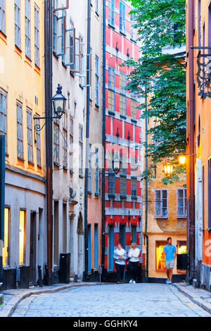 Tyska Brinken alley in the old town, Gamla Stan, Stockholm, Sweden - Stock Photo