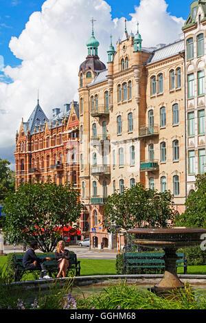 Art Deco facades in Vasastaden, Gothenburg, Sweden - Stock Photo