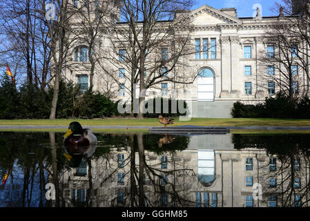 Memorial for the Sinti and Roma near the Reichstag, Berlin, Germany - Stock Photo