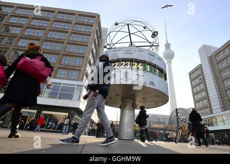 World time clock on Alexander square, Alexander Platz, Berlin, Germany - Stock Photo