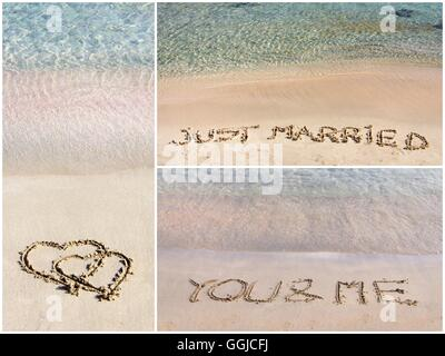 Photo collage of wedding messages written on sand. Pair of hearts, Just Married, You and Me - Stock Photo