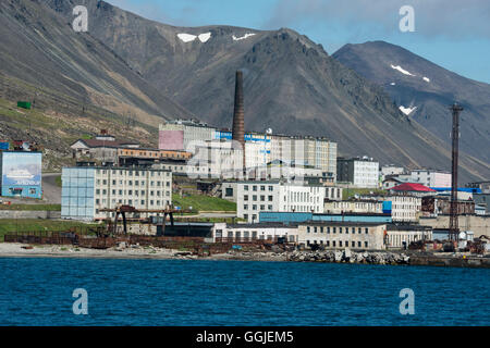Russia, Komsomolskaya Bay, Chukotka Autonomous Okrug. Port of Provideniya, across the Bering Strait from Alaska. - Stock Photo