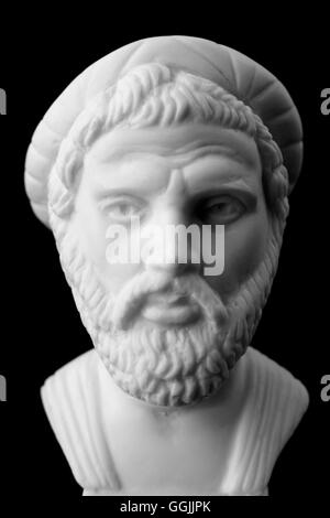Pythagoras of Samos, was an important Greek philosopher, mathematician, geometer and music theorist.  White marble - Stock Photo