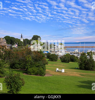 Mackinac City on Mackinac Island in the Straits of Mackinac Between Michigan's Upper And Lower Peninsulas, Michigan, - Stock Photo