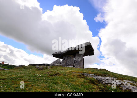 Poulnabrone Dolmen in the Burren, Clare, West coast, Ireland - Stock Photo