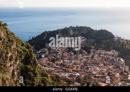 View to Taormina, Messina, Sicily, Italy - Stock Photo