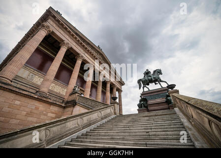 Equestrian statue in front of the Old National Gallery, Alte Nationalgalerie, Museum Island, Berlin, Germany - Stock Photo