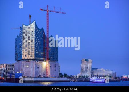 Elbphilharmonie and Marco Polo Tower, Hafencity, Hamburg, Germany - Stock Photo