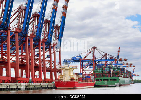 Container ships at container terminal Burchardkai, Waltershof, Hamburg, Germany - Stock Photo