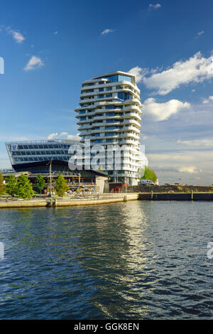 Marco Polo Tower with Grasbrookhafen, Hafencity, Hamburg, Germany - Stock Photo
