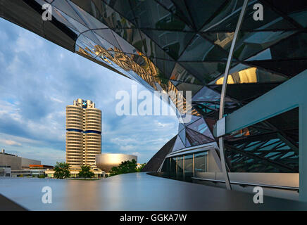 BMW tower in the evening, Munich, Upper Bavaria, Bavaria, Germany - Stock Photo