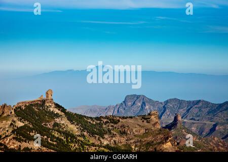 View from Mirador Pico de la Nievas towards Roque Nublo and Tenerife, Gran Canaria, Canary Islands, Spain - Stock Photo