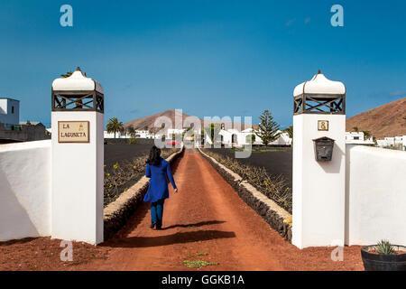 Entrance of a finca, Tinajo, Lanzarote, Canary Islands, Spain - Stock Photo