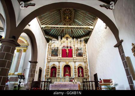 Interior view of the church, Tinajo, Lanzarote, Canary Islands, Spain - Stock Photo