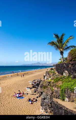 Beach, Playa Blanca in Puerto del Carmen, Lanzarote, Canary Islands, Spain