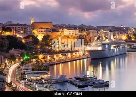Spain Menorca Mahon Menorca Mahon Port Pier With Balearia