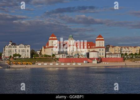 View from the pier towards the kurhaus, Binz Seaside Resort, Baltic Sea, Ruegen, Mecklenburg Vorpommern, Germany - Stock Photo