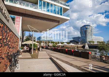 View to Marco-Polo-Tower and Unilever building, HafenCity, Hamburg, Germany - Stock Photo