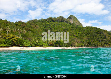 Tropical beach in the archipelago Bacuit near El Nido, Palawan Island, South China Sea, Philippines, Asia - Stock Photo