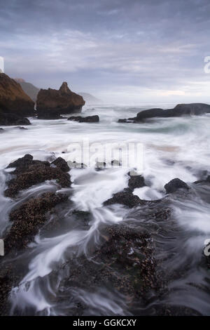 Breaking waves at Brenton-on-Sea, Indian Ocean, Knysna, Western cape, South Africa - Stock Photo