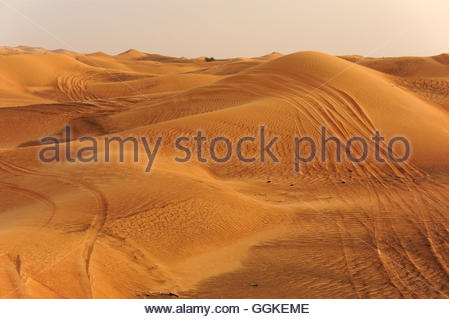 Skid marks in the desert near Dubai, United Arab Emirates - Stock Photo