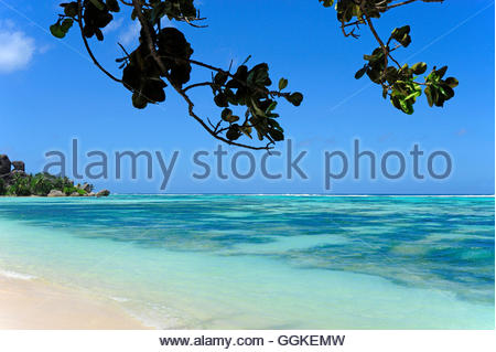 Anse Union Beach, Union Estate national park, La Digue Island, the Seychelles, Indian Ocean - Stock Photo