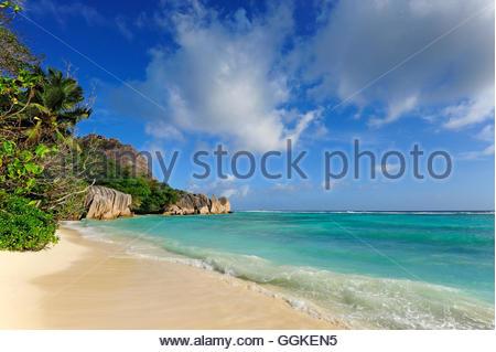 Anse Source a Jean Beach, Union Estate national park, La Digue Island, the Seychelles, Indian Ocean - Stock Photo