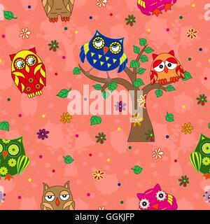 Amusing colourful owls on the terracotta background with stylized simple owls, seamless cartoon vector pattern - Stock Photo