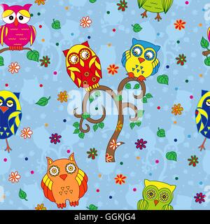 Colourful owls and tree on the blue background with stylized simple owls, seamless cartoon vector pattern - Stock Photo