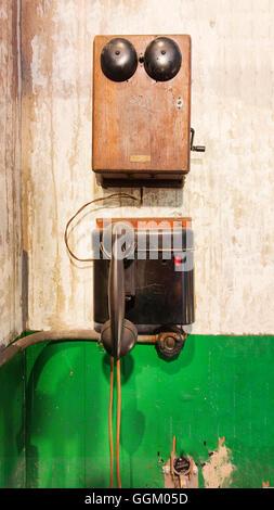 Vintage Crank Telephone.  At steam geneator,steam turbine, Seattle, WA, Georgetown Steam Plant, a National Historic - Stock Photo