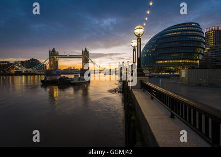 Tower Bridge from More London, London, United Kingdom - Stock Photo