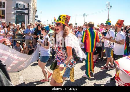 Brighton, UK. 6th August, 2016. Brighton Pride Parade. Credit:  Julia Claxton/Alamy Live News - Stock Photo