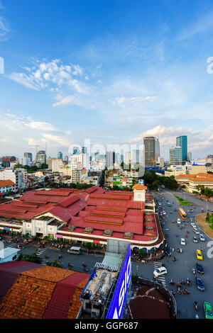 Downtown Saigon, Ben Thanh Market and Quach Thi Trang park in sunset, Vietnam. - Stock Photo
