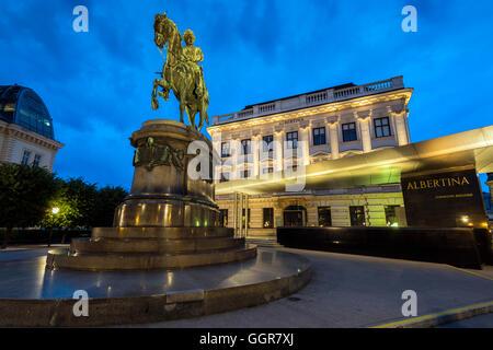 Night view of the Albertina Museum, Vienna, Austria - Stock Photo