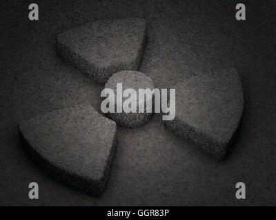 Stone radiation symbol textured background. 3D illustration. - Stock Photo