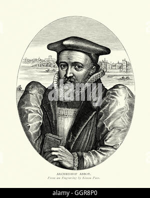 Portrait of George Abbot Archbishop of Canterbury from 1611 to 1633. - Stock Photo