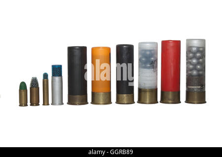 shotgun shells, various types and caliber, isolated on white background - Stock Photo