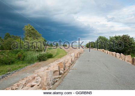 Threatening clouds moving across sky over Fairhaven, Massachusetts - Stock Photo