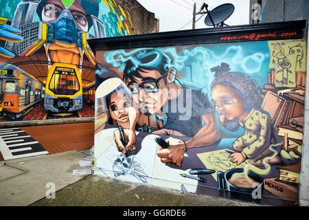 Street art around May Lane in St Peters as part of the 2016 Perfect Match program. May Lane in St Peters is internationally - Stock Photo